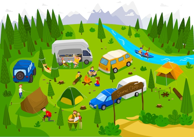 Summer camping outdoor in nature, people on vacation, illustration