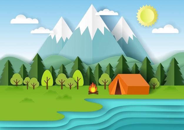 Summer camping paper cut illustration