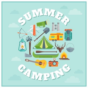 여름 캠핑 라운드 디자인