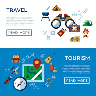 Summer camping sport activities icons collection