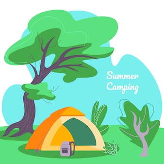 Summer camping square banner, tent and backpack on deep forest landscape background