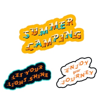 Summer camping stickers
