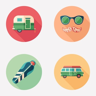 Summer camping and touring flat round icon set.