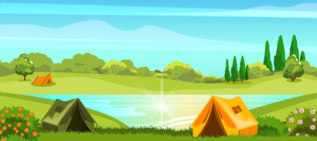 Summer camping with campsite near the lake and forest.