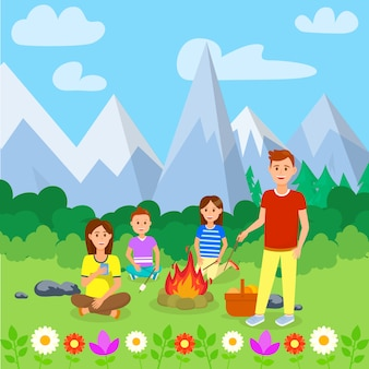 Summer camping with family cartoon illustration.