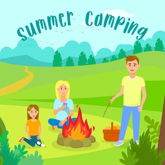 Summer camping with family vector illustration.