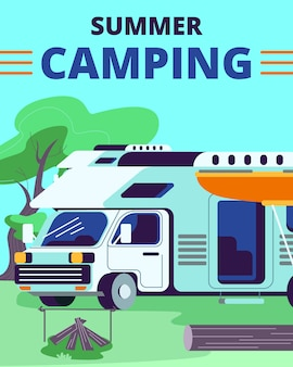 Summer camping  with motor home car standing near campfire with logs