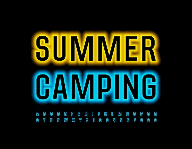 Summer campnig bright blue font neon alphabet letters and numbers set