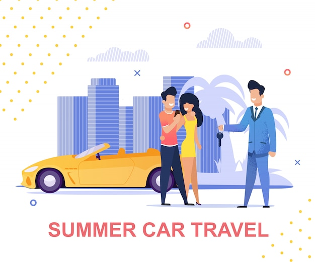 Summer car travel and carsharing service banner