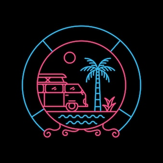 Summer caravan with circle ornament in hand drawn