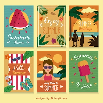 Summer card collection of six