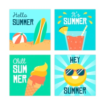 Summer card collection template in flat design