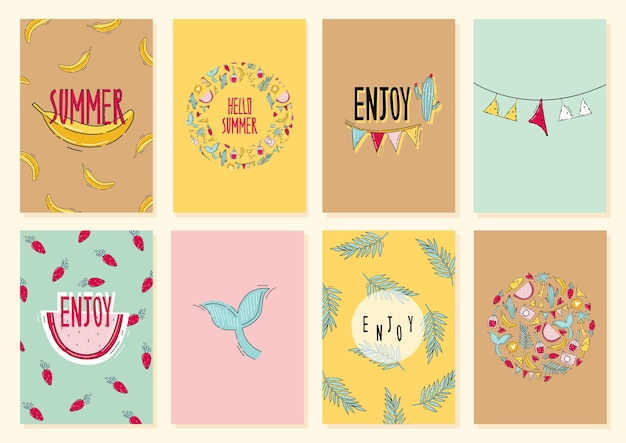 Summer card collection with fruit background and print with lettering in flat doodle style and travel time