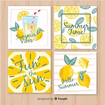 Коллекция летних открыток Premium векторы