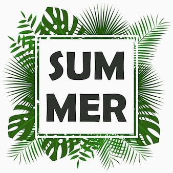 Дизайн летней открытки с тропическими пальмовыми листьями, джунглями, экзотическими растениями и рамкой