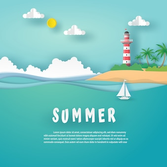 Summer card in landscape view format with red - white lighthouse on island, sea, clouds and white boat on sea wave. vector design paper art concept.