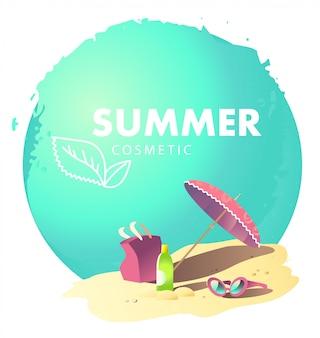 夏のカードのロゴのテンプレート