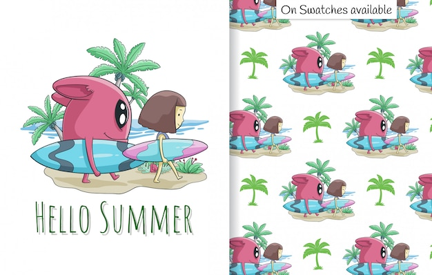 Summer card and seamless pattern with a hand drawn of cute girl and her friend on the beach