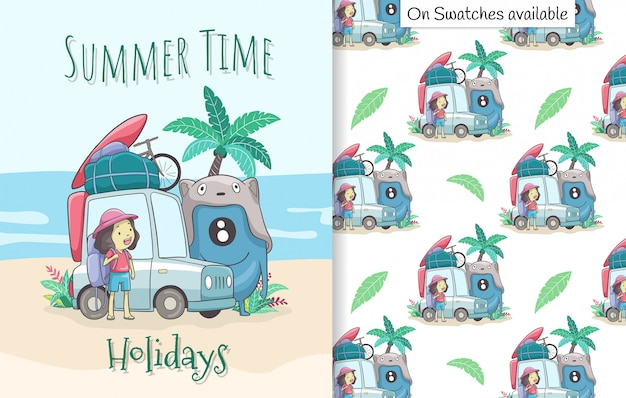 Summer card and seamless pattern with a hand drawn of happy cute girl and her friend on vacation