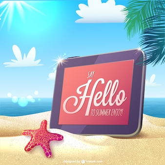 Summer card with a tablet in a beach