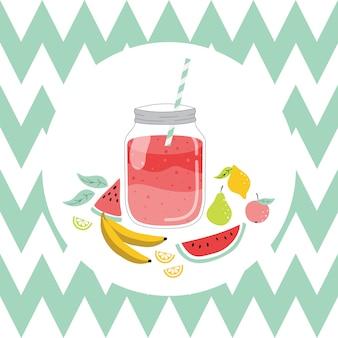 Summer card with lemonade.