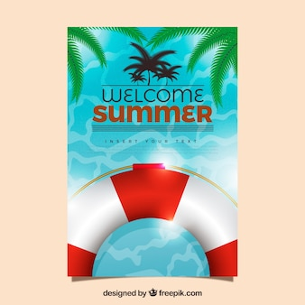 Summer card with life preserver and palm leaves