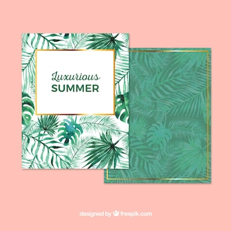 Summer card with watercolor palm leaves