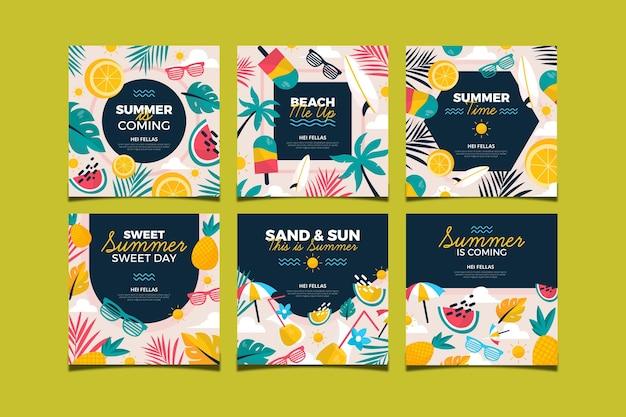 Коллекция летних открыток плоский дизайн