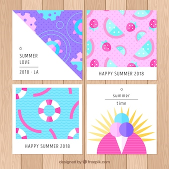 Summer cards collection in flat style