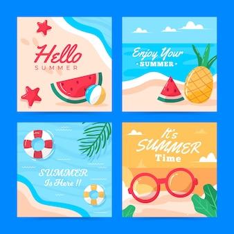 Шаблон коллекции летних открыток