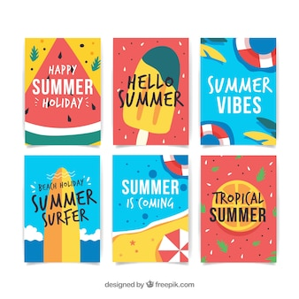 Summer cards collection with beach elements