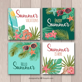 해변 요소와 여름 카드 컬렉션