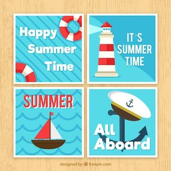Коллекция летних карточек с элементами пляжа