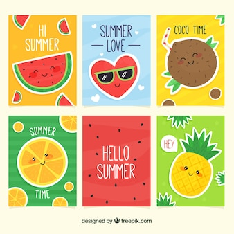 Summer cards collection with cute cartoons