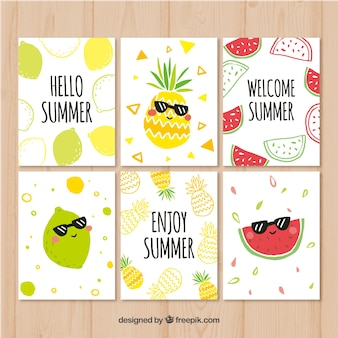 Summer cards collection with funny fruits