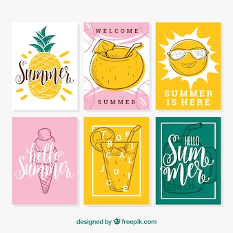 Summer cards collection with hand drawn food