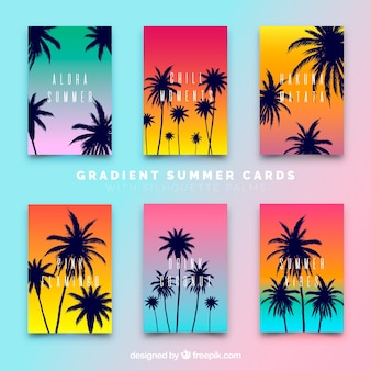 Summer cards collection with palm trees silhouette