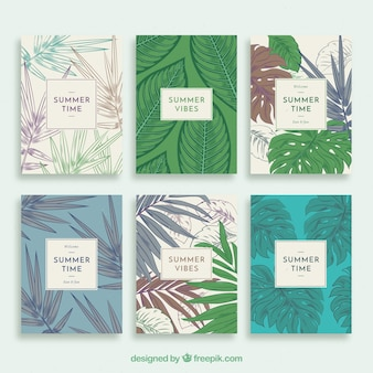 Summer cards collection with vegetation in vintage style
