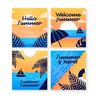 Летние открытки плоский дизайн