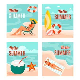 フラットデザインコレクションの夏カード