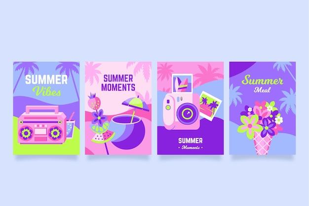 Летние открытки упаковывают плоский дизайн