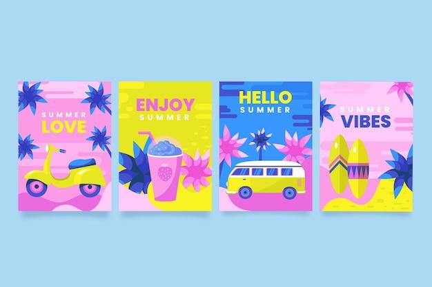 Летние открытки набор плоский дизайн