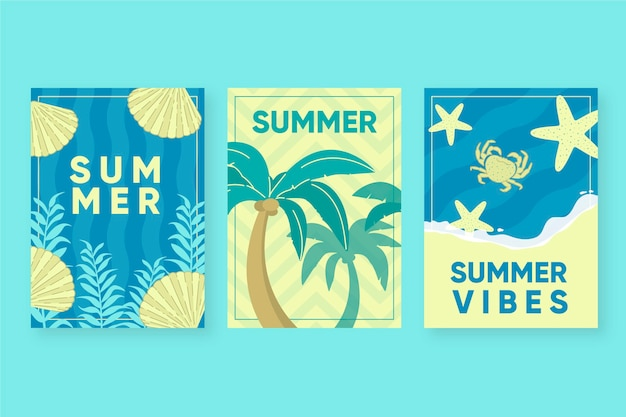 Summer cards template draw