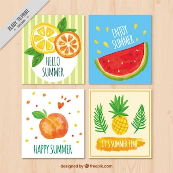 Summer cards with fruits, watercolor