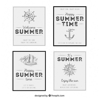 Summer cards with nautical elements in vintage style