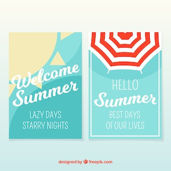 Summer cards with sun and parasol