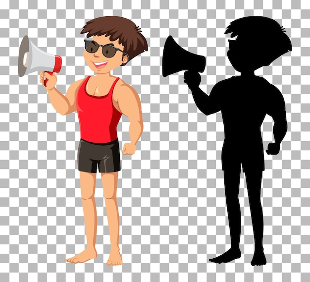 Summer cartoon character and its silhouette