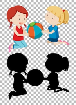Summer cartoon character on transparent background and its silhouette