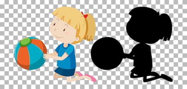 Personaggio dei cartoni animati di estate su trasparente e la sua silhouette