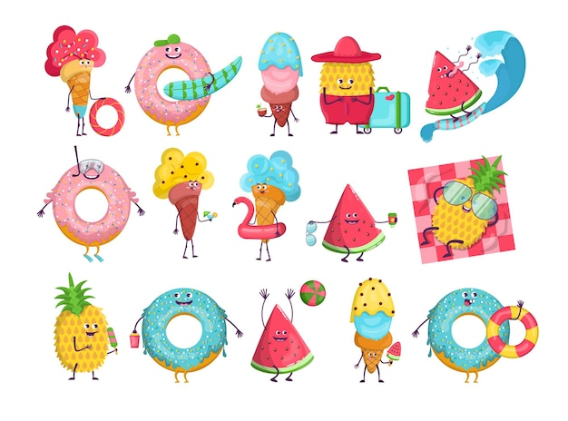 Summer cartoon characters set. cartoon illustration